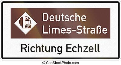 aproximadamente, limas, alemão, sinal direção, echzell, estrada