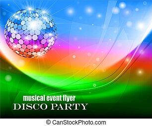 aproximadamente, música, discoteca, fireflies, ball., voador, ondas, ilustração, partido