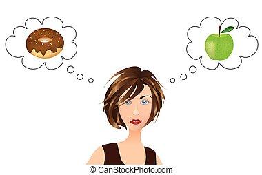 aproximadamente, maçã, pensando, escolha, donut, alimento, menina, ou