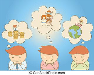 aproximadamente, meta, homens negócio, vida, sonhar