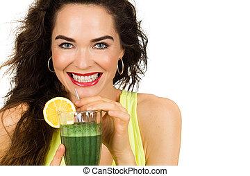 aproximadamente, mulher, verde, bebida, smoothie.