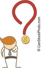 aproximadamente, negócio, pensando, dinheiro, personagem, caricatura, homem