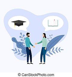 aproximadamente, pessoas, dois, boné graduação, vetorial, ilustração, livro, conversa