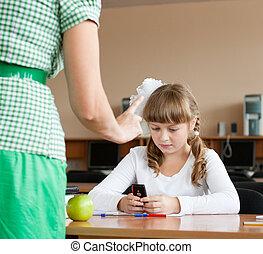 aproximadamente, rebukes, telefone, móvel, schoolgirl, uso,...