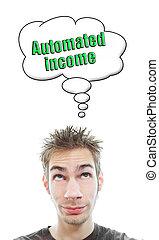 aproximadamente, renda, jovem, automatizado, pensa, homem
