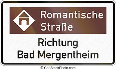 aproximadamente, romanticos, alemão, mergentheim, sinal direção, mau, estrada