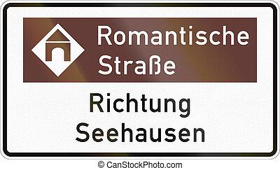 aproximadamente, romanticos, alemão, sinal direção, seehausen, estrada