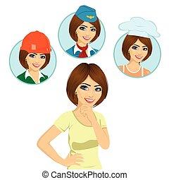 aproximadamente, semelhante, pensando, trabalhador, jovem, escolha, carreira, opções, cozinheiro, stewardess, menina