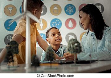 aproximadamente, seu, segredos, falando, sonhador, professor, criança