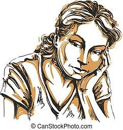 aproximadamente, vetorial, arte, romanticos, pessoas, deprimido, desenho, jovem, triste, something., pensando, expressões, facial, emoções, proposta, retrato, woman., menina