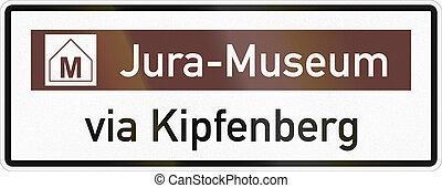 aproximadamente, via, jurassic, kipfenberg, alemão, museu, sinal, estrada
