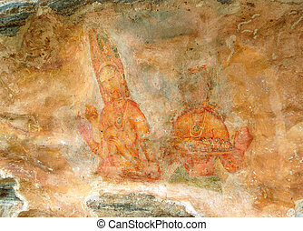 Apsara celestial nymphs - ancient painting on the walls in the Lion Rock cave, 5th century, Sigiriya, Sri Lanka