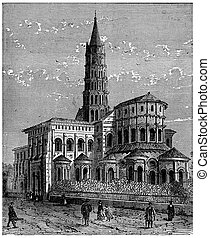 Apse of Saint-Sernin in Toulouse, vintage engraving.