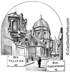 Apse of Saint-Sulpice, vintage engraving.