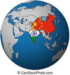 APTA on globe map with asia