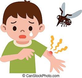 apuñalado, niño, mosquito, era