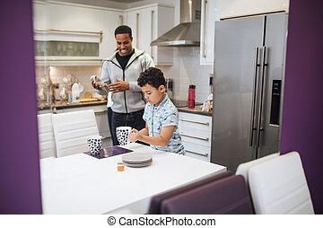 apuka, ételadag, reggeli, állhatatos, asztal