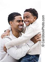 apuka, boldog, african-american, ölelgetés, fiú
