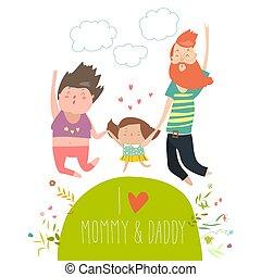 apuka, lány, birtok, család, ugrás, anyu, kézbesít, jumping., vidám