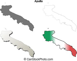 Apulia blank detailed outline map set - Apulia region blank...