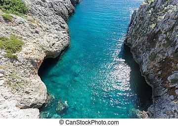 apulia, leuca, grotte, von, ciolo, -, a, mann, schwimmender,...