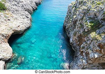 apulia, leuca, grotte, von, ciolo, -, türkis, wasser, an,...
