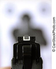 apuntar, blanco, arma de fuego