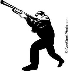 apuntar, cazador, arrodillar, rifle