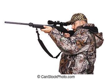 apuntar, cazador, rifle