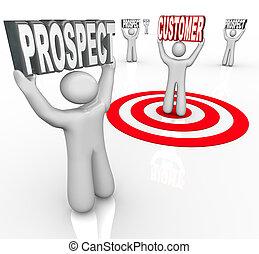 apuntar, cliente, perspectivas, uno, muchos
