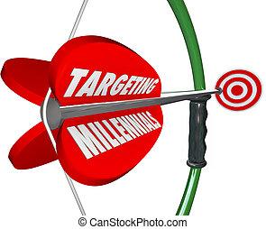 apuntar, generación, mercadotecnia, arco, millennials, audiencia, flecha, y