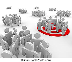 apuntar, grupo, gente