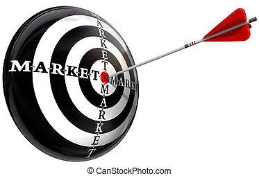 apuntar, mercadotecnia, imagen, conceptual