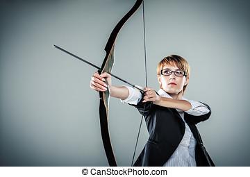 apuntar, mujer, flecha, empresa / negocio, arco