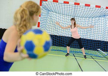 apuntar, mujer, juego, meta, balonmano