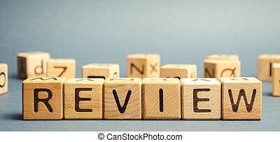 apurer, reviewer., concept., revue, bois, rating., réexaminer, review., client, mot, blocs, feedback., service