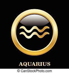 aquário, signos, sinal, em, frame oval