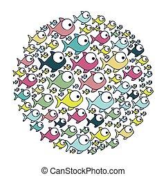 aquático, coloridos, padrão, peixe, animal, circular