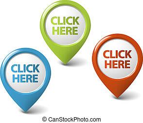 aquí, clic, vector, indicador, redondo, 3d