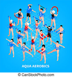 Aqua Aerobics Isometric Composition