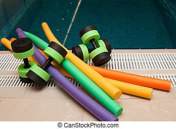 aqua, aerobik, ausrüstung
