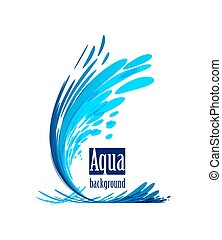 Aqua background, splash water on white - Wave element on...