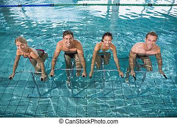 aqua, biciclette, aerobica, classe salute, esercizio