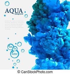 aqua blåa, bläck, in, vatten, mall, med, bubblar