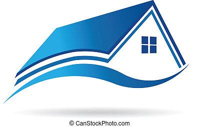 aqua blåa, hus, verkligt gods, image., vektor, ikon