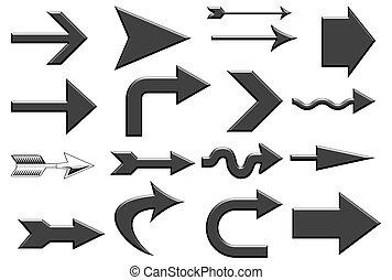 Aqua Black Arrows - Various aqua black arrows over white...