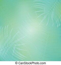 Aqua Blue Background with Contour Palm Branches