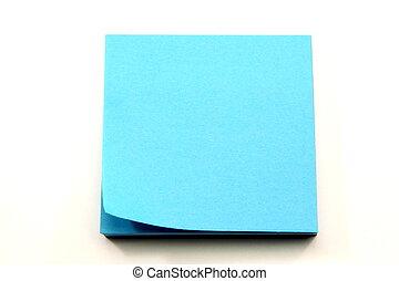 Aqua Blue Sticky Notes with corner curling - A stack of aqua...