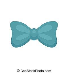 Aqua bow tie icon, flat style