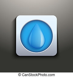 aqua button with water drop